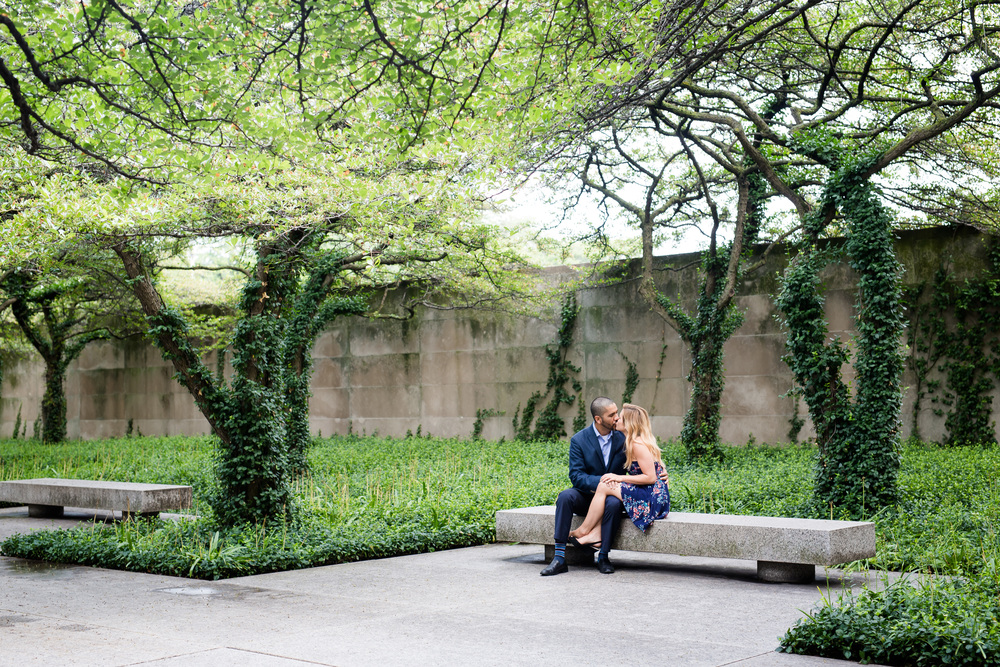 We started out their engagement session at the Art Institute South Gardens....