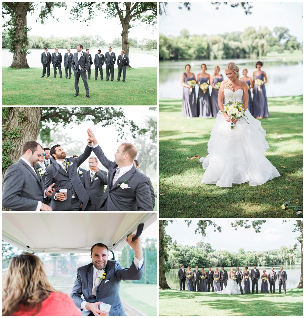 The ushers and groomsmen remained lighthearted even after the skies opened up letting loose a torrential downpour in the middle of their photos- they had to wait it out under the cover of the trees while Jenna sped back with a golf cart! Luckily, I don't think anything could have put a damper on this day :) The rain cleared up and the sun was shining again just minutes later.