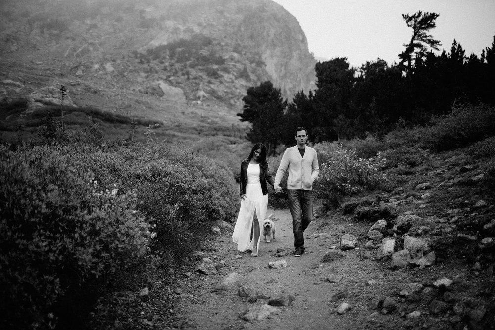 Saint Mary's Glacier Engagement Photography Moody, Editorial Style
