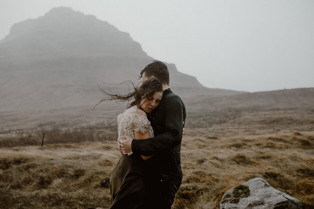 Jenna & Kellon - Couple Adventure Session in Iceland, Part II - Hurricane Force Winds, Rain and Mount Kirkjefell