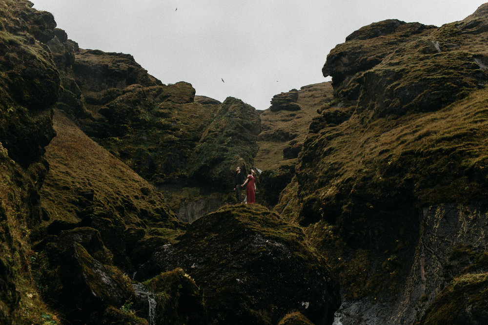 Jenna & Kellon - Couple Adventure Session in Iceland, Part I -Moss, Canyons & Waterfalls