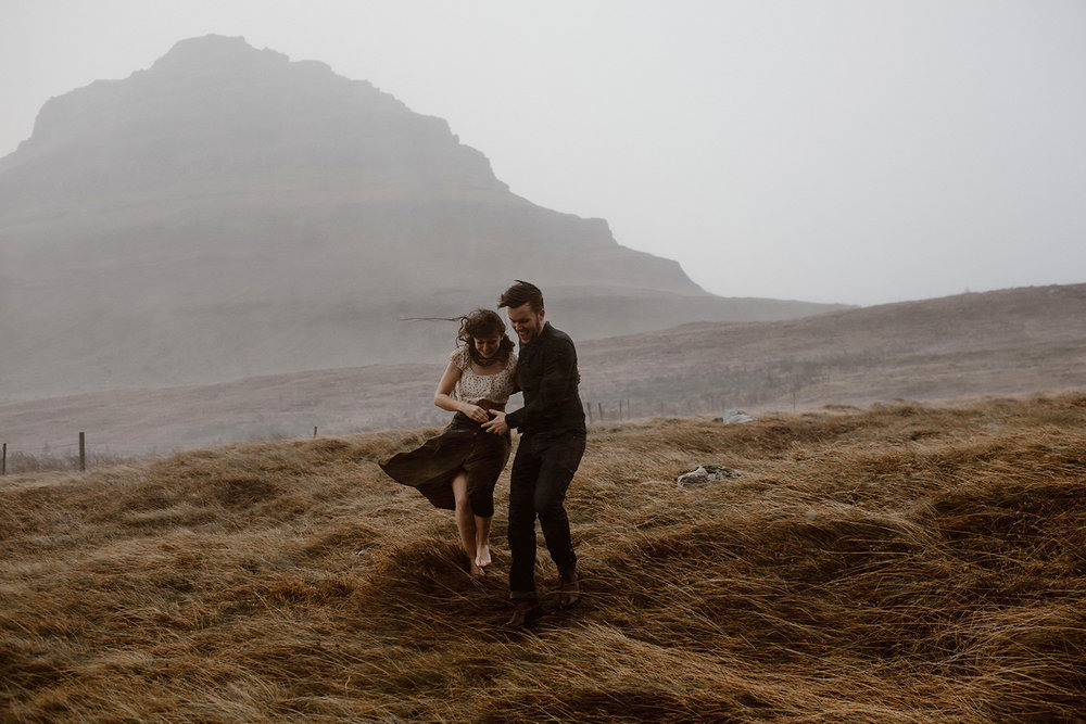 Isle of Sky Wedding and elopement photographer windy engagement pictures