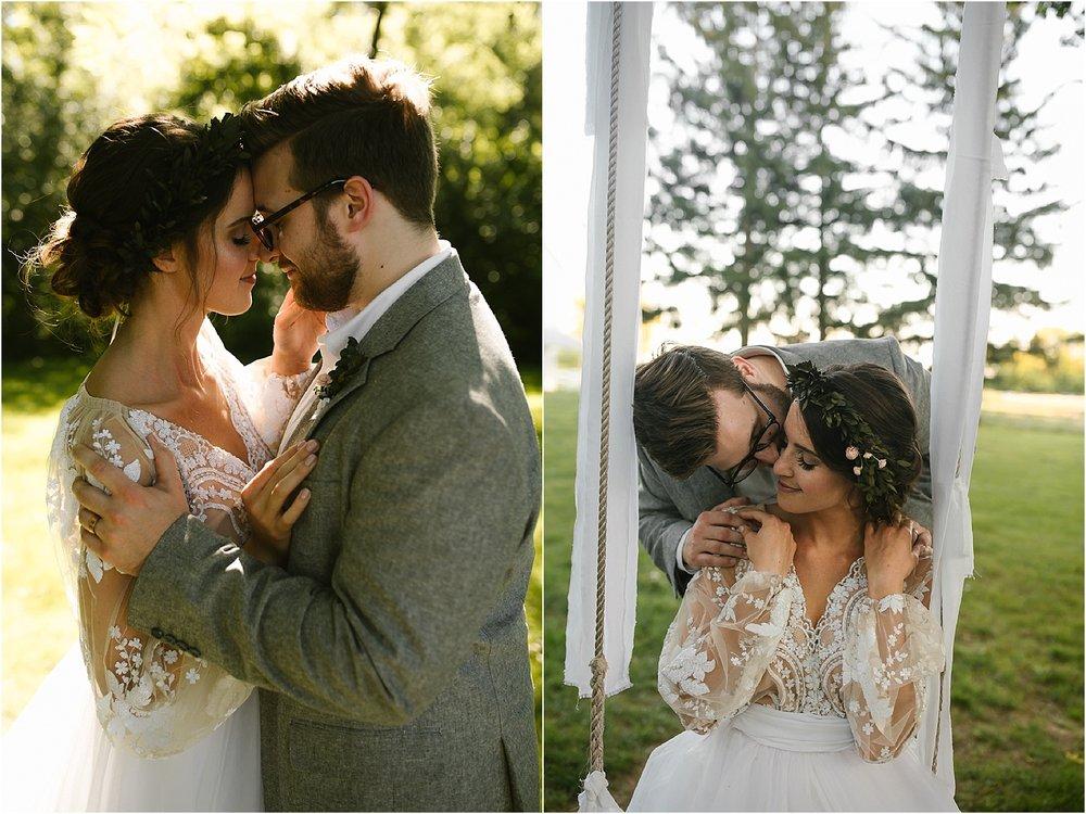 bohemian wedding couple on a swing scarlet oakes estate.jpg