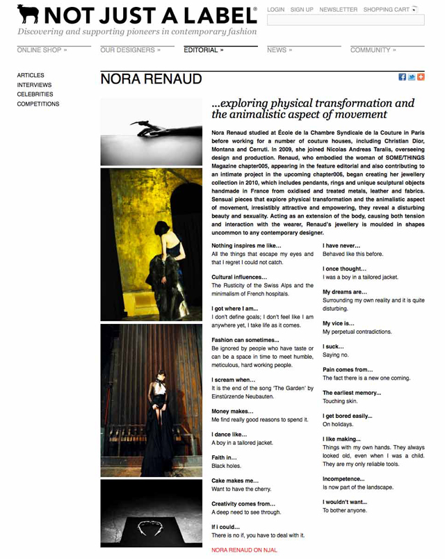 SOME/THINGS CURATES NOT JUST A LABEL FOR PARIS FASHION WEEK [29 FEBRUARY to 7 MARCH 2012] INTERVIEW WITH NORA RENAUD