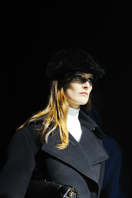 Marie Piovesan wearing LANVIN double breasted wool coat during the AUTUMN WINTER 2012/2013 collection show, PARIS FASHION WEEK, photographed by S/T for the villa eugenie project