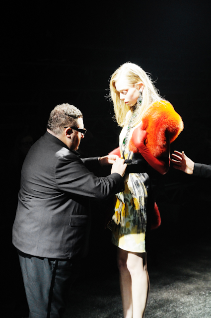 Alber Elbaz with Tanya Dziahileva wearing LANVIN stole and printed dress during rehearsals for the AUTUMN WINTER 2012/2013 collection show, PARIS FASHION WEEK, photographed by S/T for the villa eugenie project