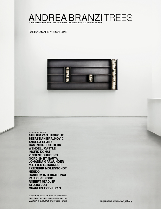 ANDREA BRANZI TRESS EXHIBITION [SEVEN SHELVES WITH SELECTED OBJECTS CURATED BY CATHERINE THIECK] AT CARPENTERS WORKSHOP AD BY SOME/THINGS AGENCY / PHOTOGRAPH BY AIGA OZOLINA