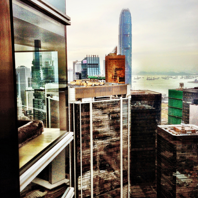 HONG KONG skyline from CAFE GRAY at THE UPPER HOUSE in the INTERNATIONAL FINANCE CENTRE