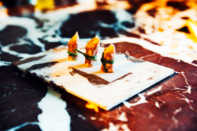 CANAPES BY MICHELIN-STARRED CHEF VICKY LAU OF TATE DINING ROOM AND BAR, AT THE JOYCE WANG INTERIORS RARE TABLES COLLECTION LAUNCH EVENT IN COLLABORATION ASIA SOCIETY HONG KONG & SOME/THINGS, PHOTOGRAPHED BY ALEXEY BLAGUTIN, SOME/THINGS AGENCY