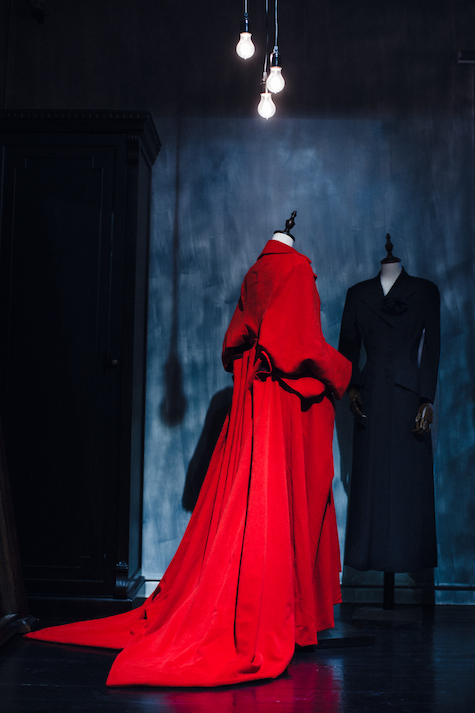 yohji yamamoto red dress from fall/winter 95 collection & black coat dress from fall/winter 97 at old lyric shanghai | photography by alexey blagutin | SOME/THINGS S/TUDIO