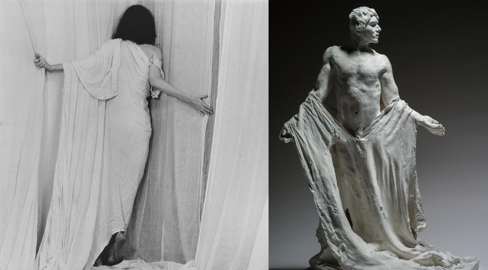 Robert Mapplethorpe (1946-1989), Patti Smith, 1979, MAP 229 © 2014 Robert Mapplethorpe Foundation, Inc. All rights reserved — Auguste Rodin (1840-1917), Les Bourgeois de Calais : Jean de Fiennes, variante du personnage de la deuxième maquette, torse nu, vers 1885, plâtre, 72 x 50,5 x 45 cm, Paris, musée Rodin, S. 432 © Paris, musée Rodin, ph. C. Baraja