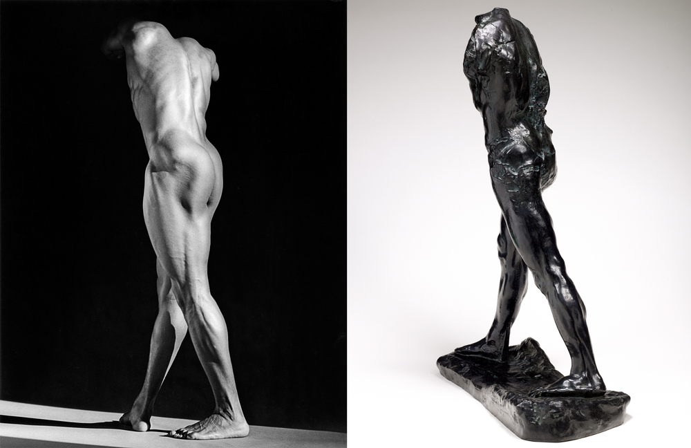 Robert Mapplethorpe (1946-1989), Michael Reed, 1987, MAP 1728 © 2014 Robert Mapplethorpe Foundation, Inc. All rights reserved — Auguste Rodin (1840-1917), L'Homme qui marche, vers 1899, bronze, 85 x 59,8 x 26,5 cm, Paris, musée Rodin, S. 495 © Paris, musée Rodin, ph. C. Baraja