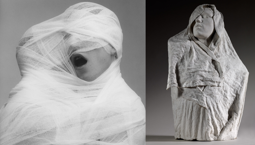 Robert Mapplethorpe (1946-1989), White Gauze, 1984, MAP 1330 © 2014 Robert Mapplethorpe Foundation, Inc. All rights reserved — Auguste Rodin (1840-1917), Torse de l'Age d'airain drapé, vers 1895, plâtre, 78 x 49,5 x 31 cm, S. 3179 © Paris, musée Rodin, ph. C. Baraja