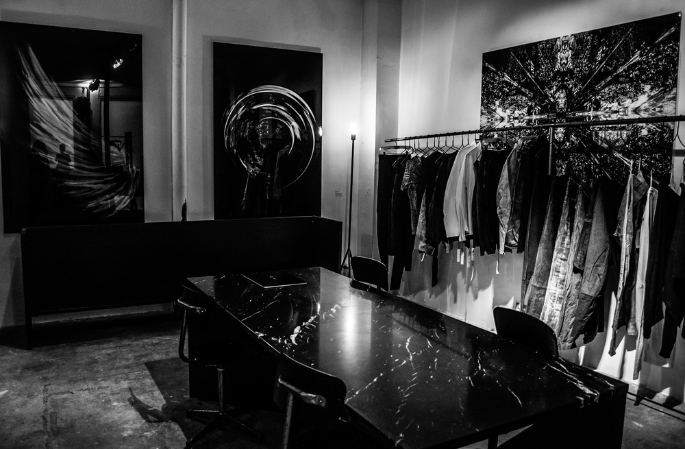 the CONCEPT S/TORE exhibition space including pournoir kundag black marble table, gl-ow alchemy artworks & lumen et umbra spring/summer 2015 collection