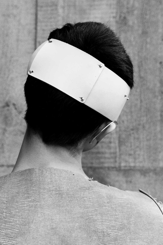 dress Harry Pontefract leather headaccessory Chiara Pavan Studio
