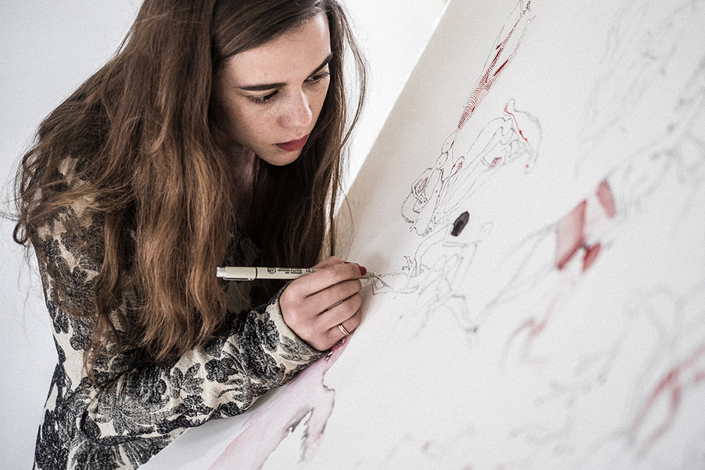 alice waese working on ''the big drawing'' at hostem photography by paul phung | S/TUDIO