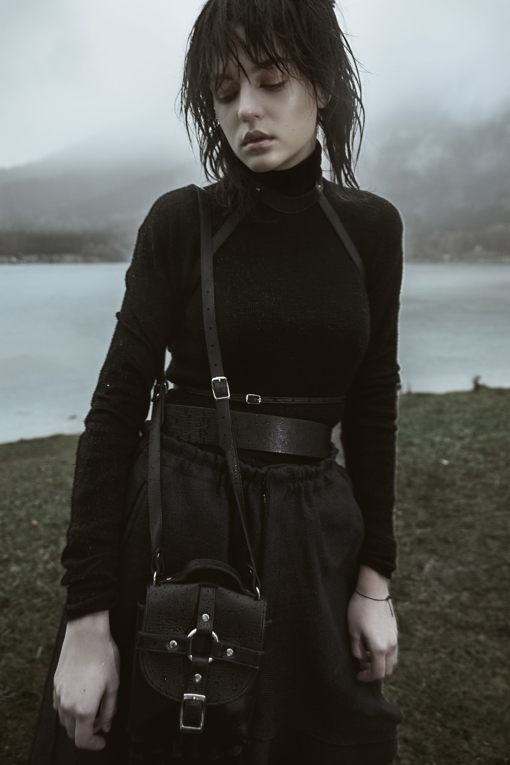 Black merinos turtle neck by Lanvin | Elastic A skirt by Moon Young Hee | Leather harness and Tassel bondage tassel handbag by Zana Bayne | Textured leather belt by Givenchy
