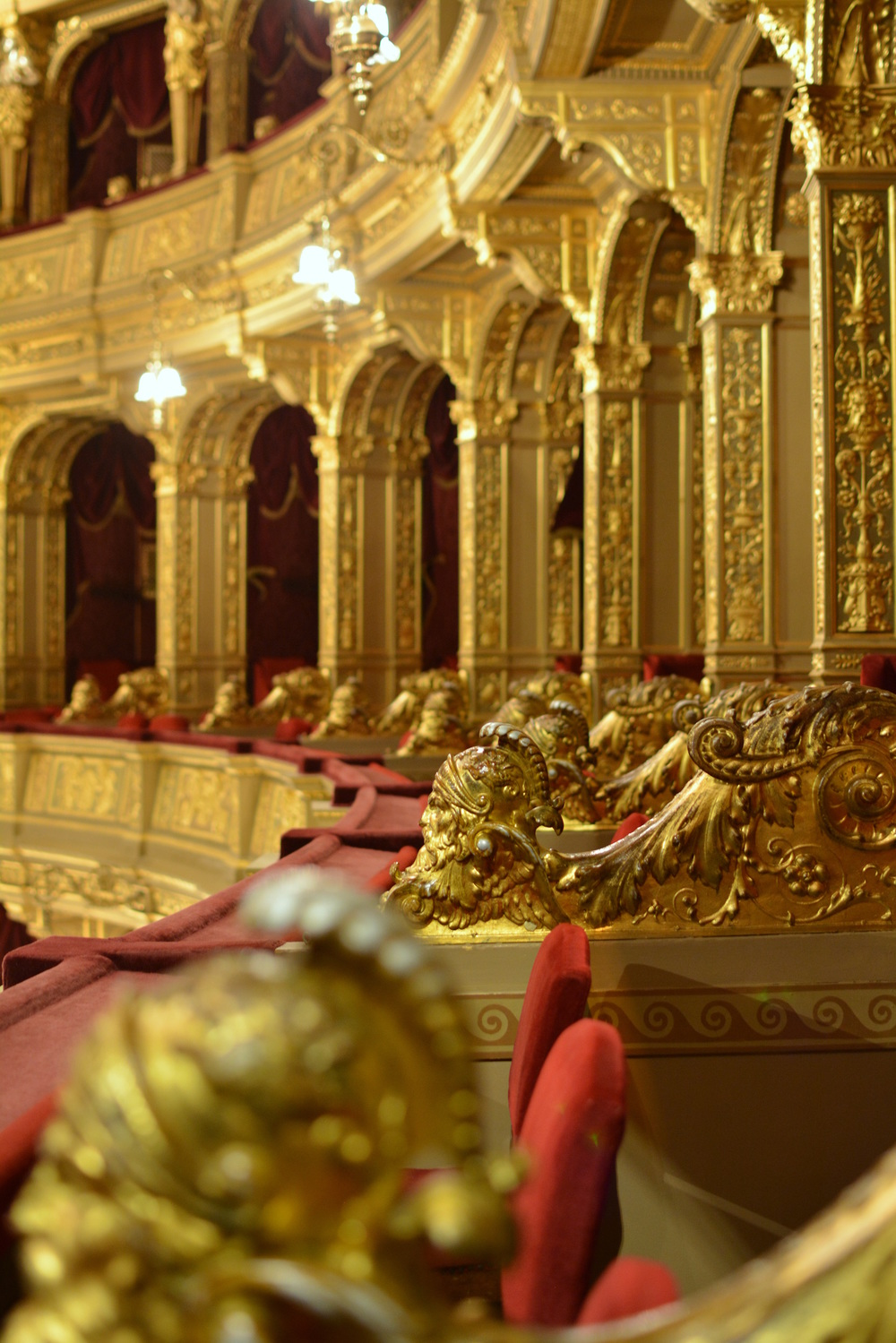 The gilded row of private box seats at the Hungarian Opera House.