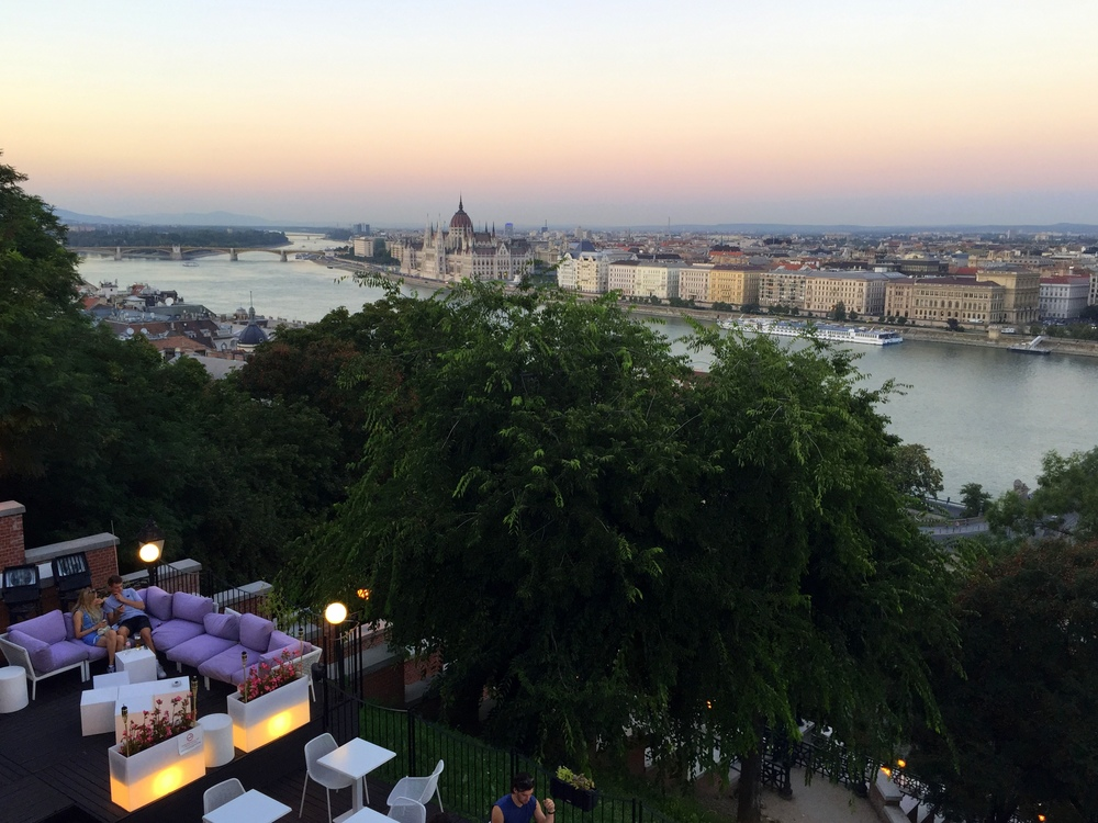 Atop Castle Hill on the Buda side overlooking the Danube River.