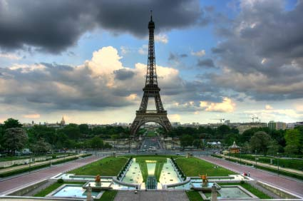 Eiffel Tower in Paris on cloudy day