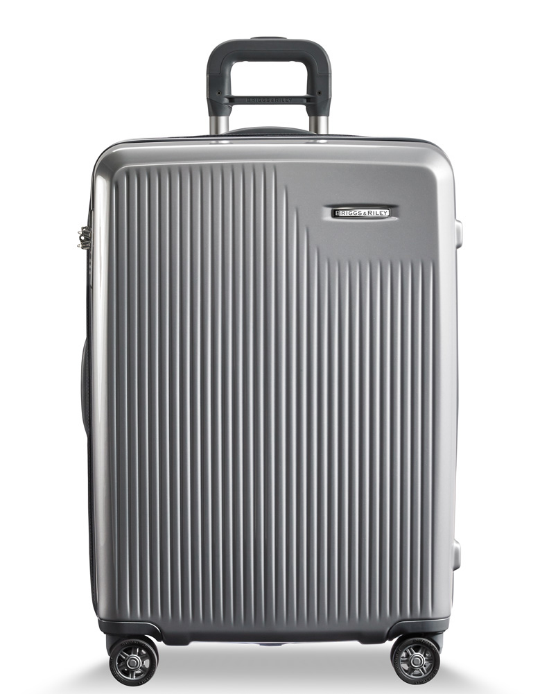 Briggs & Riley Silver Large Checked Suitcase