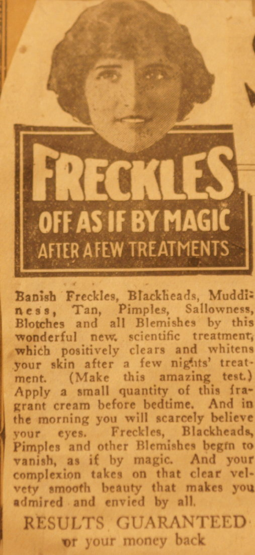 Vintage ad for freckle-removing cream. Image credit: Katie Beltramo