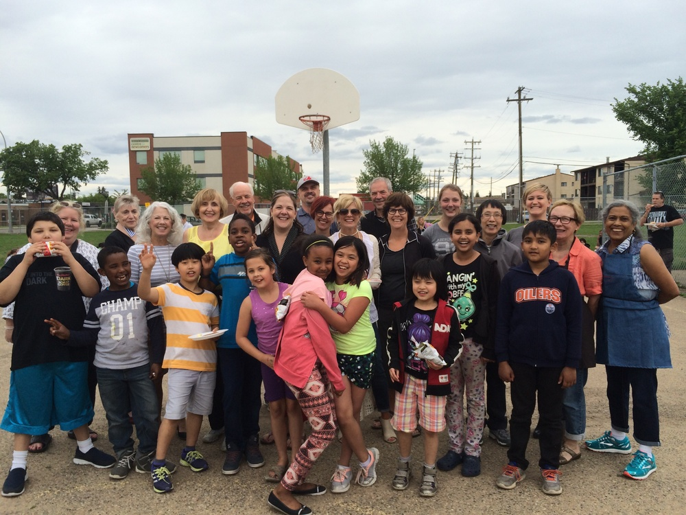 Some of our YONA students with the wonderful members of the Glenora Rotary Club who put on a BBQ for our families.