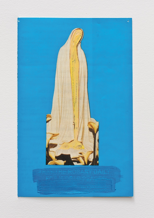 "Hayley Barker, ""She does not touch the ground"" (Pray the Rosary Daily for World Peace), gouache on pamphlet, 5 ¼ x 3 ¼"" (2014). Courtesy Haley Barker."