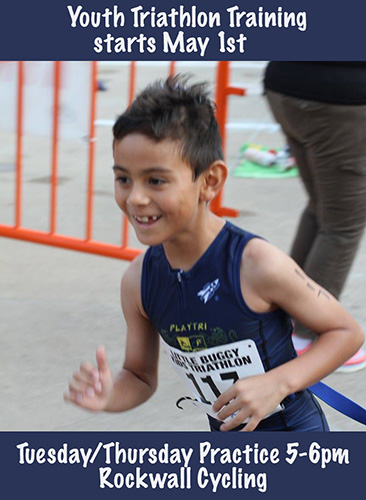 Kid's Pre-Season Triathlon Session   - Dates: May 1-May 20th (First day of practice May 1st)Race: Waterworks Kids Splash & Dash May 20thCost: $100Practice times: Tuesday/Thursday: 5-6pm bike/runLocation: Rockwall Cycling 939 East I-30Rockwall, TX 75032For more information, please contact Morgan Davis at (704)604-1342 or morgandavis@playtri.com