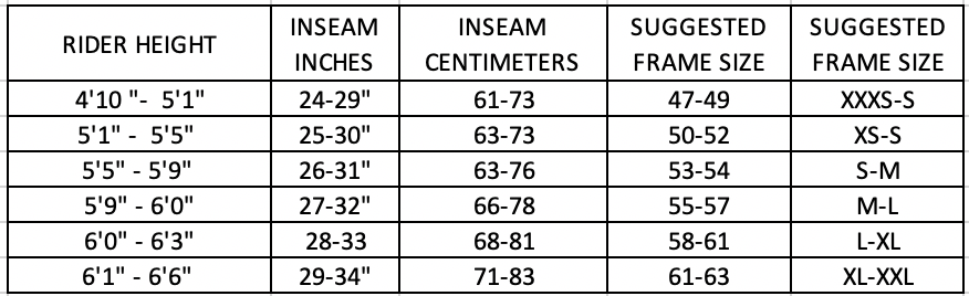Q. How do I know what size fits?    A.  We have trained bike fit experts who will assist you in getting the perfect fit. Below is a general guideline to give you a better idea of your size range – if you don't know. Of course, there are exceptions, and if you aren't sure, please contact us at bikerental@playtri.com at least 2 weeks before your rental is scheduled,   Q. Who will fit me to the bike? How can I be sure that the bike will work for me?    A.  At the event, we will have a qualified bike fitter and a certified bike mechanic to make sure that when you leave the PLAYTRI booth, you are ready to race.   Q. Where will I pick up the bike I have reserved for the race?   A.  We are the official triathlon store of IRONMAN events and will have a large tent at the IRONMAN Village. Come to the service section of the tent and we will get you taken care of.   Q. When can I pick up my bike before the race?   A . Your bike will be available as soon as the expo opens. The online registration you go through will have a reservation time so that we can be ready for you. We recommend picking your bike up as early as possible so that you have several days to ride and familiarize yourself with the bike. Bike pick up must be completed no later than an hour before bike check in.   Q. How do I return the bike after the race?   A.  When you pick up your rental bike, return options will be specified before you leave the booth with your bike. Please note, when you return the bike yourself after the race, you will need to wipe down the bike frame and components.   Q. What accessories does the bike come with?   A.  The bike comes equipped with items listed in the rental description. We add two water bottle cages, and a flat kit.   Q. What if I really, really like my current saddle? Can I bring that one along? Do you have different saddle choices?   A.  You can bring your own saddle if you'd like. We use ISM saddles on our bikes.   Q. Will I have different options for gearing the bike? Ca