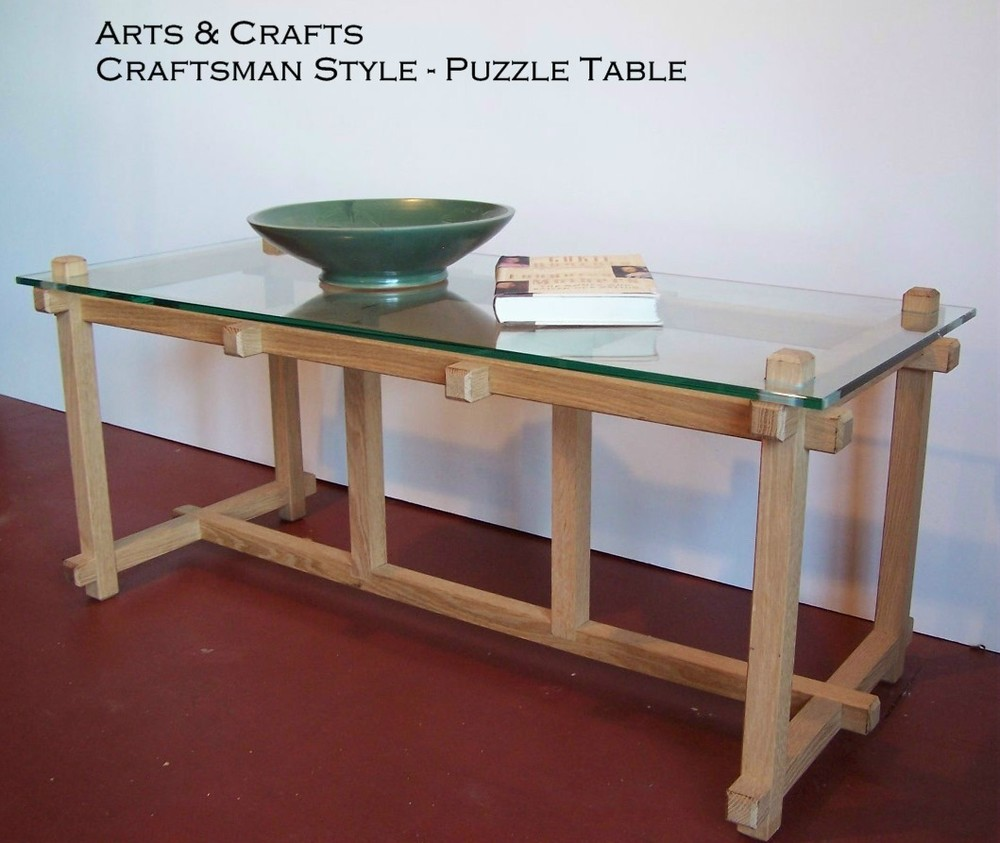 Craftsman Style Coffee Table Puzzle Occasional Table Arts Crafts Style George Wurtzel