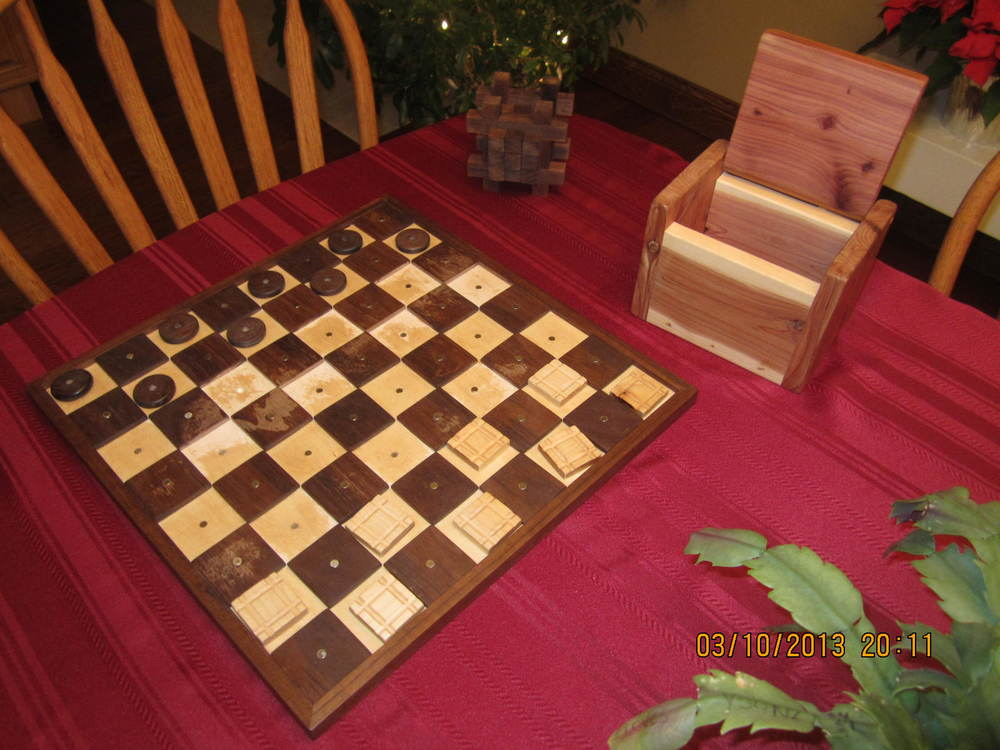 Checker/Chess Board, Cedar Box, and Puzzle by Lisa Hagerich
