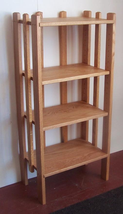 Oak bookcase with adjustable shelves.JPG