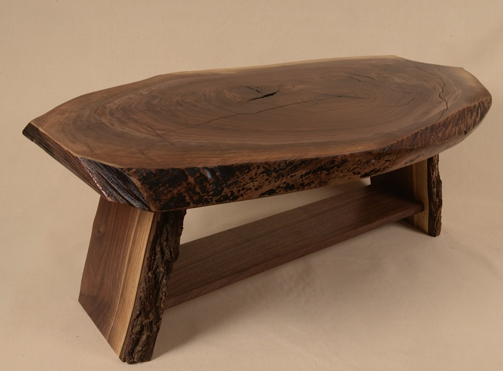 Side angle view of Rustic Walnut Slab table from Quincy Street in Minneapolis