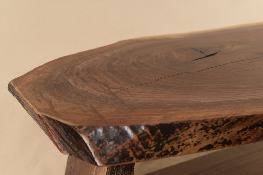 Close view of one end of Rustic Slab table buit by George Wurtzel