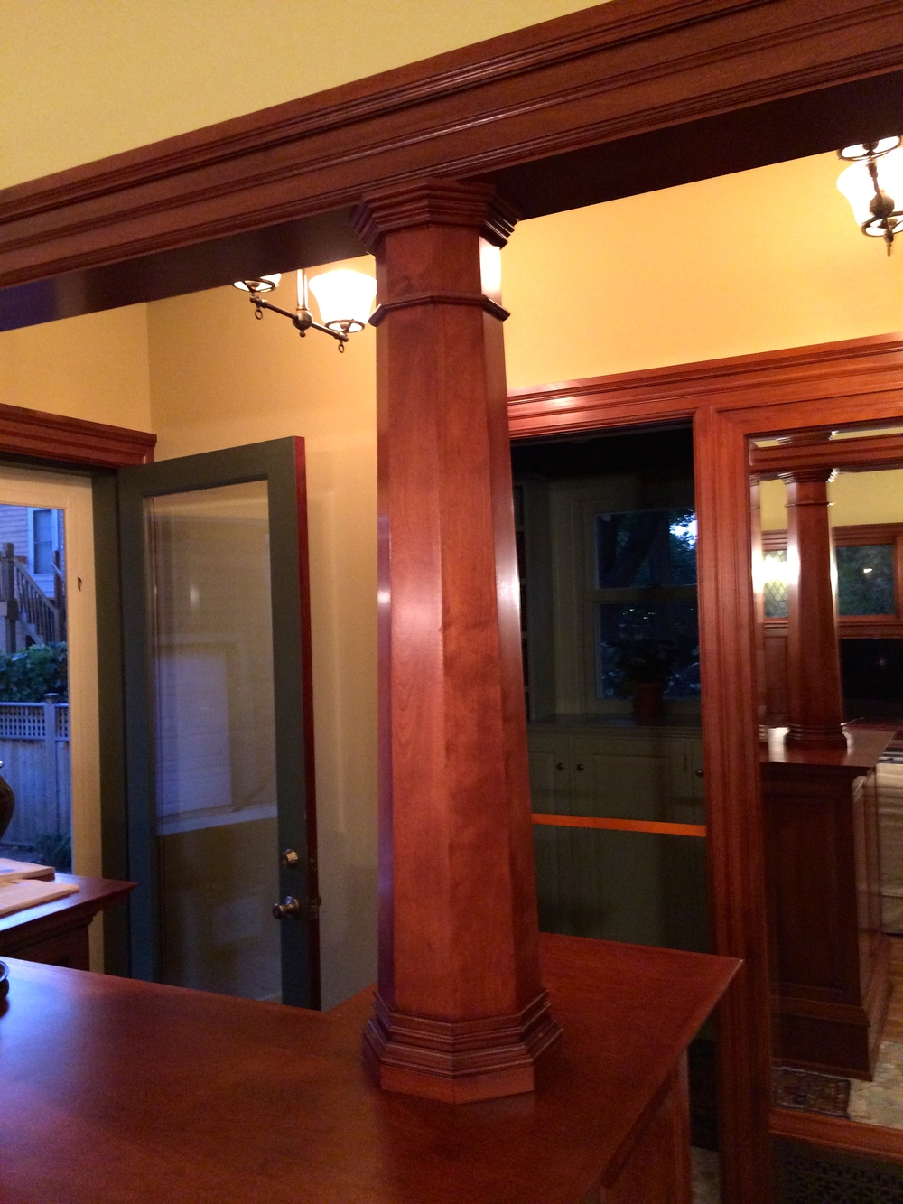 Custom octagonal pillar I made of Red Birch to match the interior woodwork on this classic Minneapolis home.