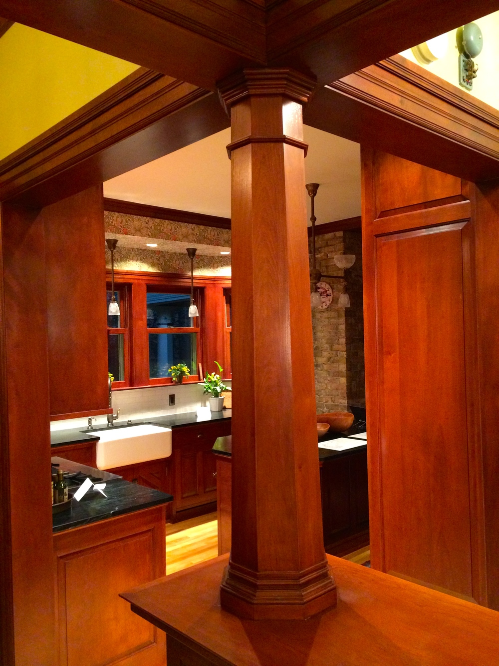 The fine detail on these support pillars I made matches the original trim in this classic Minneapolis home.