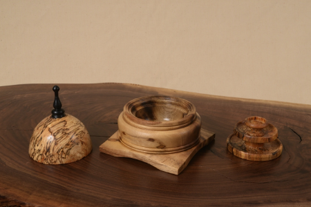 Spalted birch jewelry box showing all three pieces
