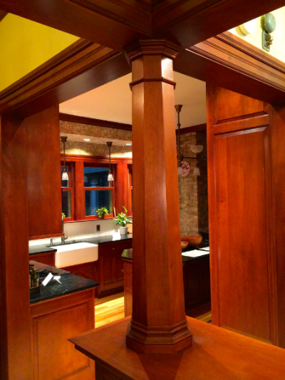 Octagonal Red Birch Pillar custom built for renovation in Minneapolis