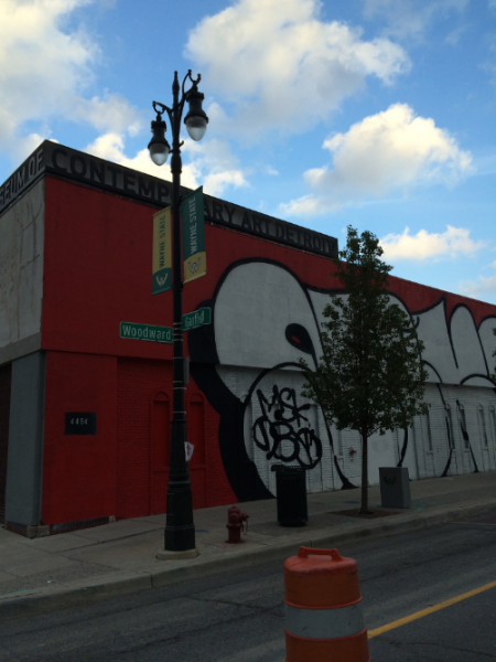 MOCAD is on the corner of Garfield and Woodward in Detroit.  4454 Woodward to be exact.