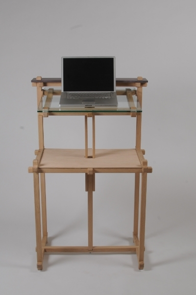 Standup adjustable-height computer desk. Photo by Sean Smuda.
