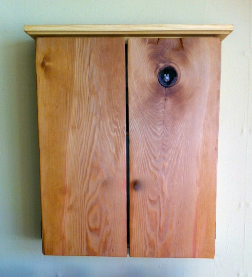 Pine wall cabinet with adjustable shelves.