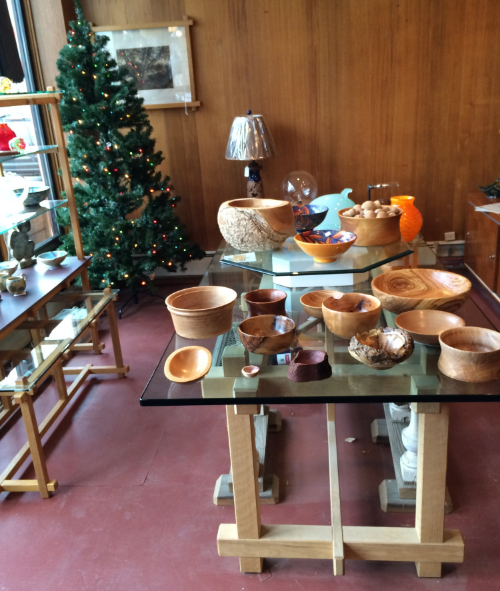 A table full of bowls at our Christmas Open House, Saturday December 20, 2014