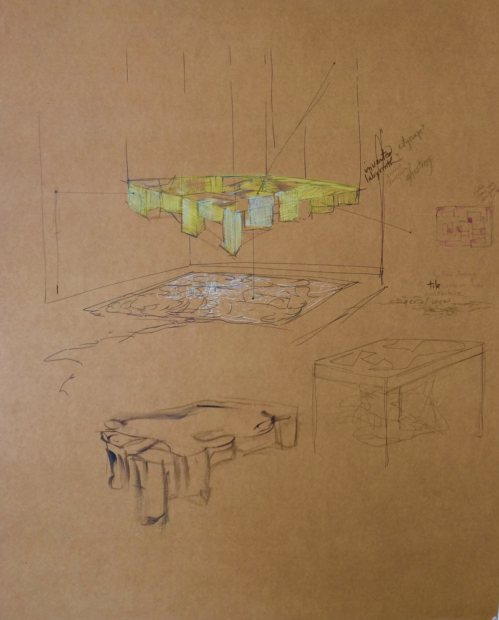 "Sketch that describes Mary Ann Peters' concepts for ""impossible monument (nothing but the memory)"""