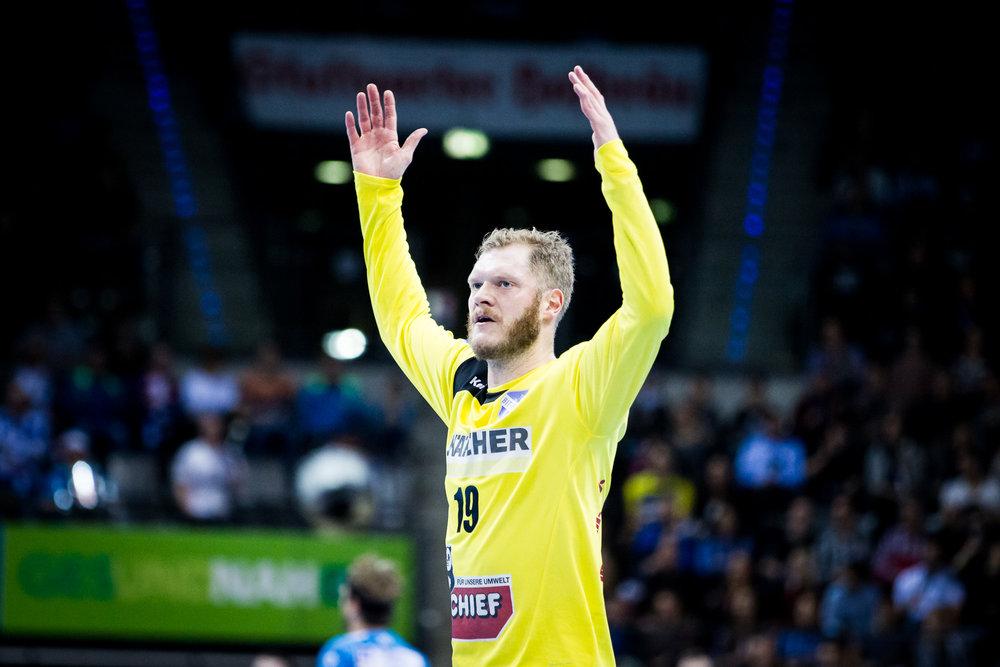 Jubel Johannes Jogi Bitter (19 TVB); DKB Handball Bundesliga: TVB 1898 Stuttgart vs SC DHfK Leipzig, Porsche Arena, Stuttgart Germany, 20161226; Foto: Wuechner/Eibner Pressefoto