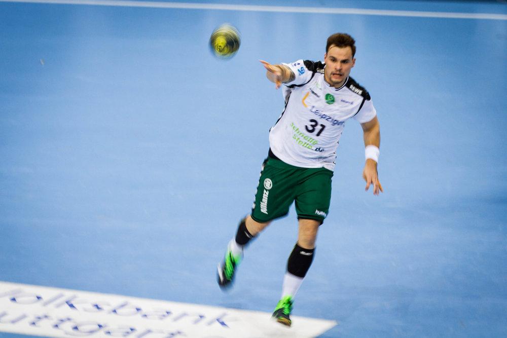 Benjamin Meschke (31 Leipzig); DKB Handball Bundesliga: TVB 1898 Stuttgart vs SC DHfK Leipzig, Porsche Arena, Stuttgart Germany, 20161227; Foto: Wuechner/Eibner Pressefoto