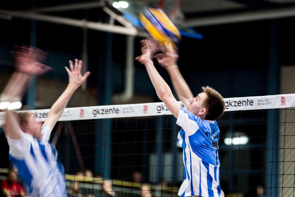 Zuspiel Jonas Kuhn (7  Stuttgart); 2. Volleyball Bundesliga: SV Fellbach vs TSV Georgii Allianz Stuttgart, Gaeuaeckersporthalle 1, Fellbach Germany, 20170225; Foto: Nils Wuechner/Eibner Pressefoto