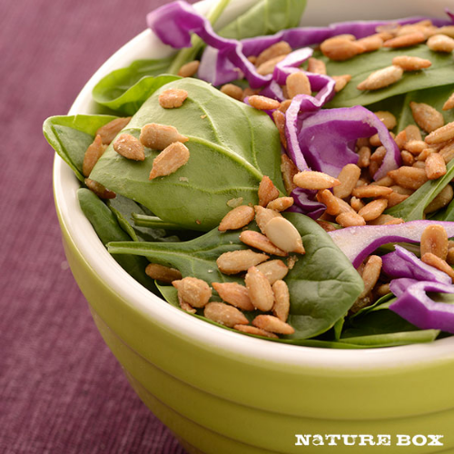 We love using  NatureBox Honeycomb Sunflower Kernels  in our mixed baby green salads!