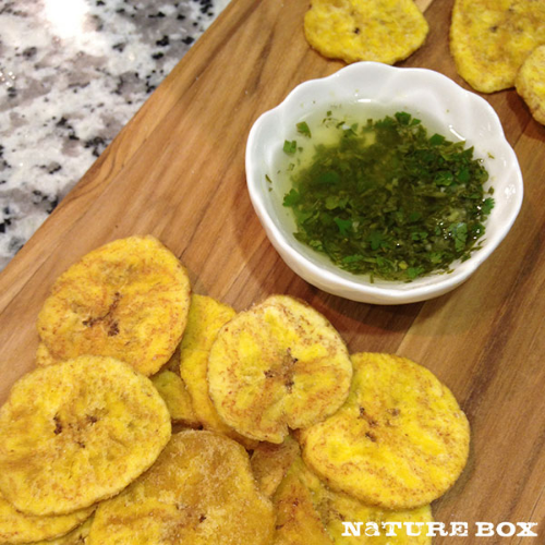 Try this  Cilantro Garlic Dipping Oil  to go with  NatureBox South Pacific Plantains !