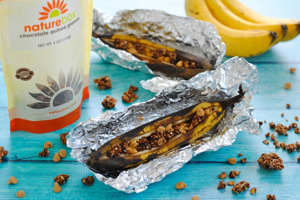 Grilled Banana Boats with Chocolate Quinoa Granola